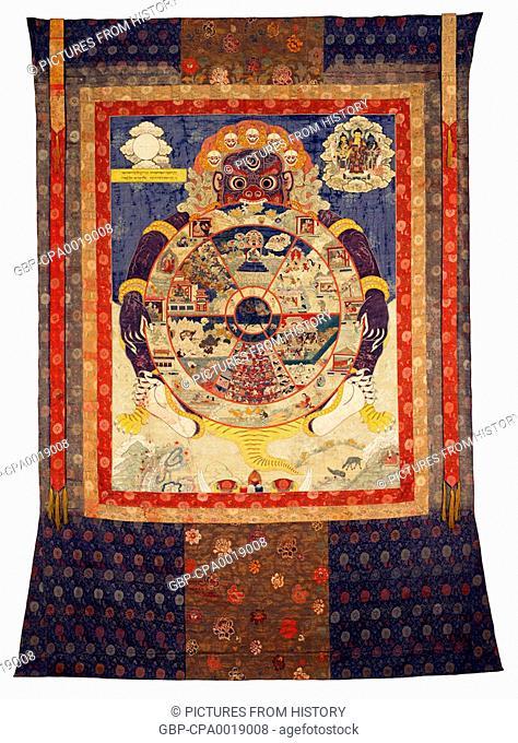 China / Tibet: Tangka / Thangka representing death (Marana) consuming the planes of Samsaric existence