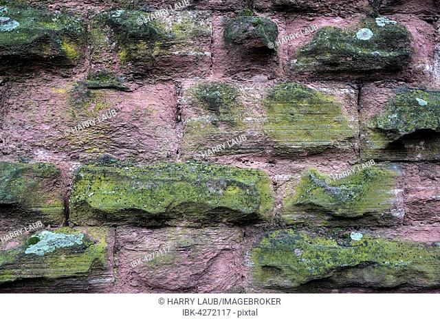 Weathered sandstone walls, red sandstone, Baden-Württemberg, Germany