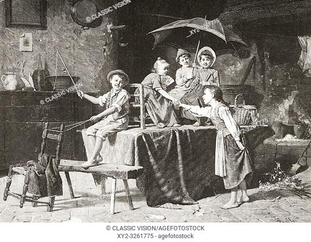 The Stagecoach. Children using a table and chairs to build an imaginary stagecoach, 19th century. From La Ilustracion Espanola y Americana, published 1892