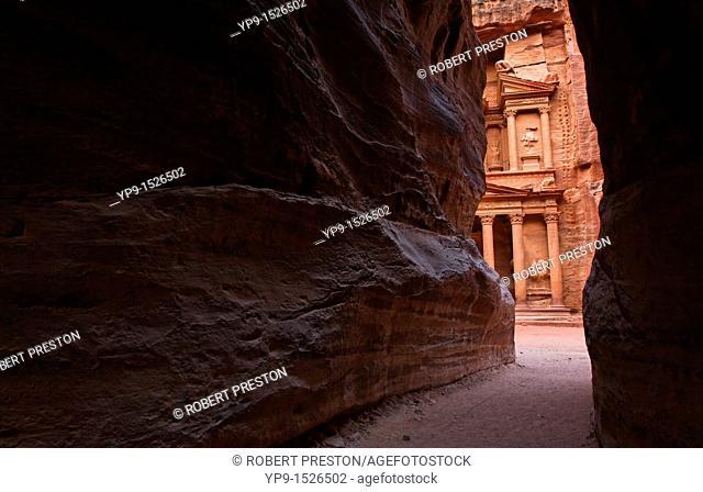 A glimpse of Al Khazneh, the Treasury, from the Siq, Petra, Jordan