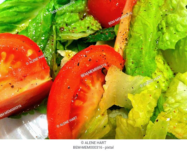 Close up of tomatoes in salad