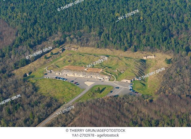 France, Meuse (55), Verdun, WWI battle fields, Vaux fort (aerial view)