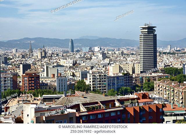 Skyline of Barcelona from Montjuic Mountain. Barcelona, Catalonia, Spain, Europe