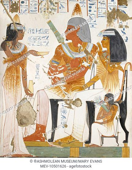 Copy of wall painting, private tomb 181 of Nebamun and Ipuky, Thebes, deceased, mother and daughter offered wine by lady. Davies, Nina