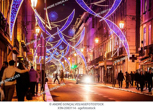 Christmas Lights in the Rua Aurea, Lisbon, Portugal, Europe