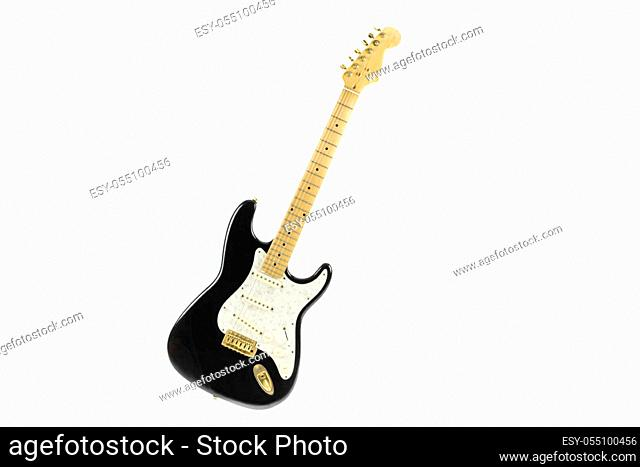 portrait of isolated inclined electric guitar with nacre pickguard