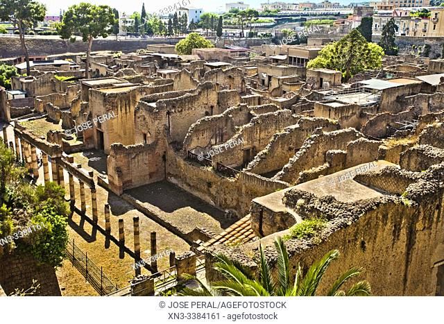 Ruins of Herculaneum, which was an ancient Roman town destroyed by volcan Mount Vesuvius, Ercolano, comune of Ercolano, Campania, Italy, Europe