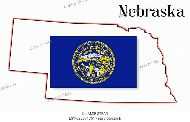 Outline of the US state of nebraska over a white background woth flag inset