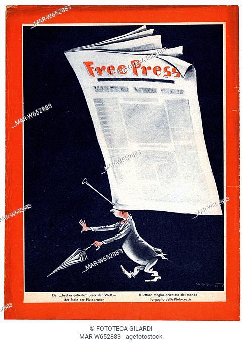 SECONDA GUERRA MONDIALE Italia-Germania. Caricatura -Free press - Il lettore meglio orientato del mondo, l'orgoglio delle Plutocrazie-