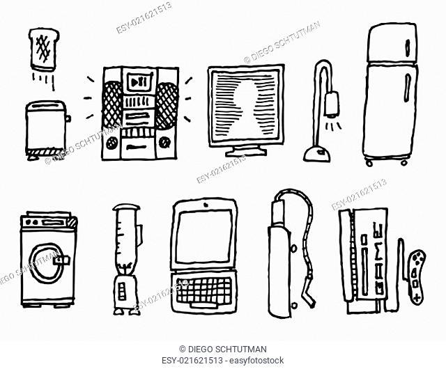 Vector hand-drawn home appliances