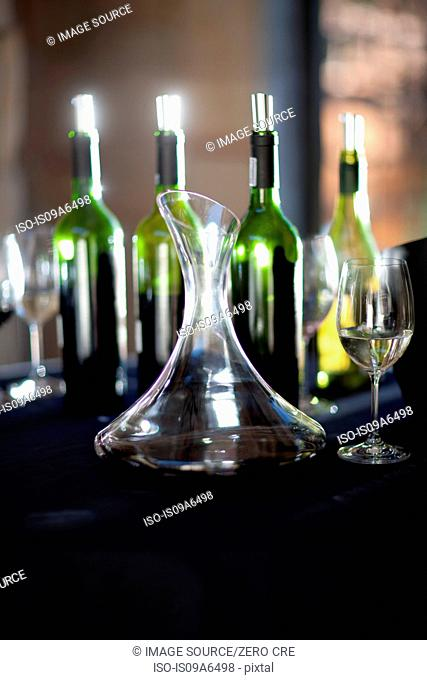 Wine tasting flask on table