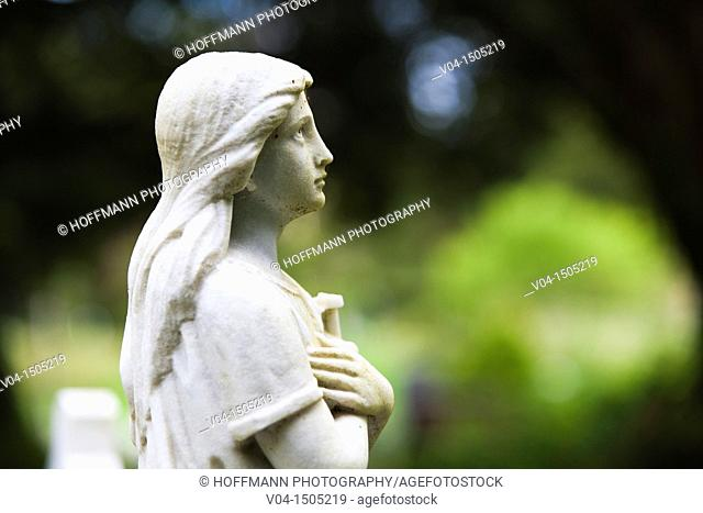 Marble statue at the cemetry in Muckross Abbey, County Kerry, Ireland, Europe