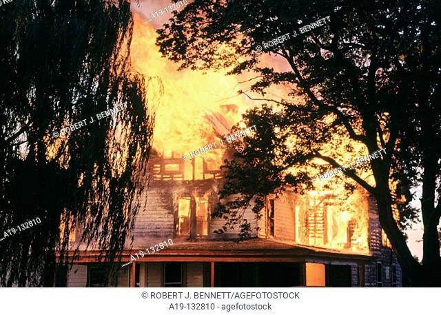 Rural house burning