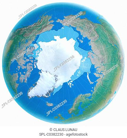 Polar ice cap shrinking. Computer illustration of the globe, centred on the North Pole, showing the extent to which the Arctic ice cap (white) shrunk between...