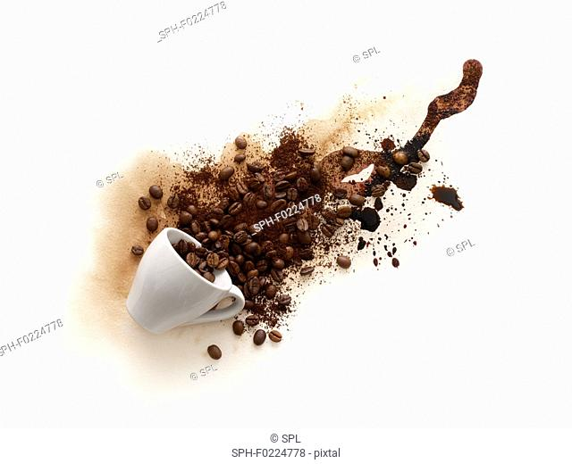 Cup of coffee spilling with liquid and beans coming out