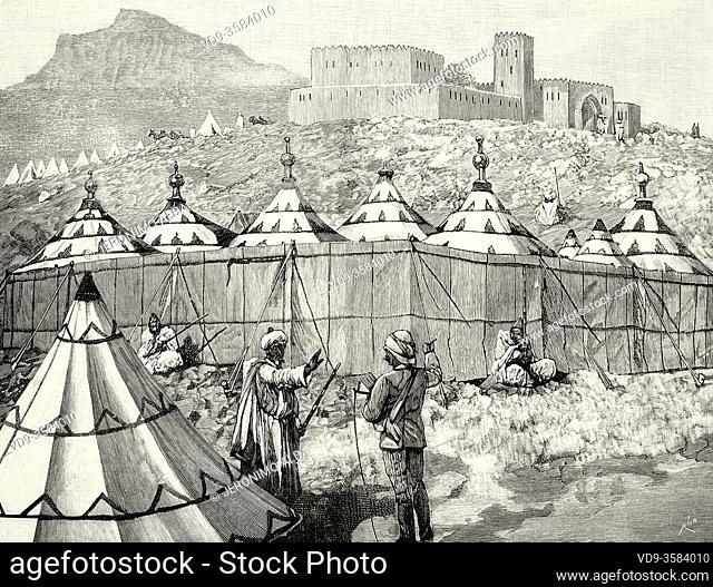 Harem camp for women of the sultan of Morocco. Old XIX century engraved illustration from La Ilustracion Española y Americana 1894