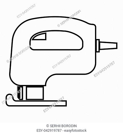 Fretsaw electric keyhole saw icon black color vector illustration flat style simple image