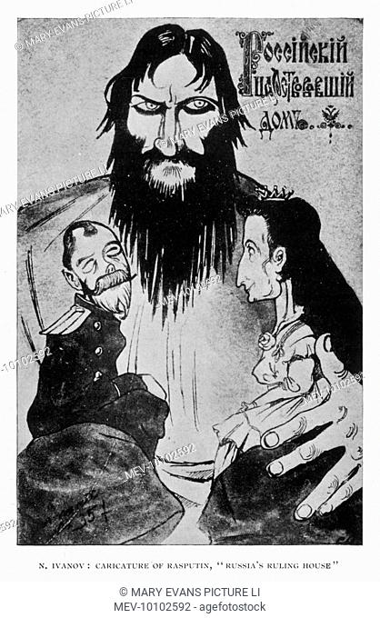 GRIGORI RASPUTIN caricatured as the sinister leader of 'Russia's ruling house', looming over the puppet-like figures of Nicolas II and Alexandra
