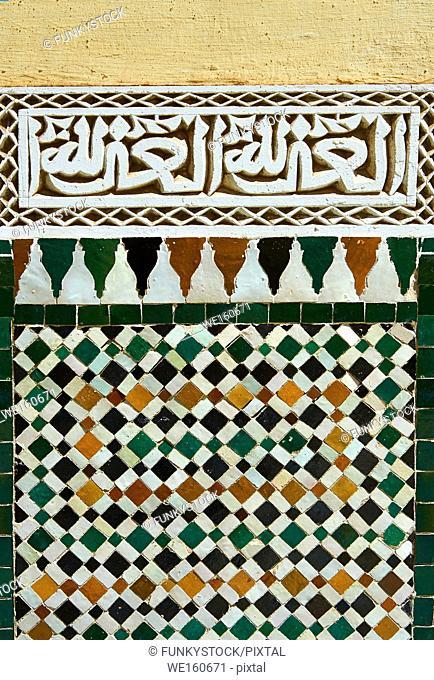 "Berber Mocarabe Honeycomb work plaster decorations and Berber design tiles of the Mauseleum of Moulay Ismaïl Ibn Sharif , reigned 1672â. ""1727"