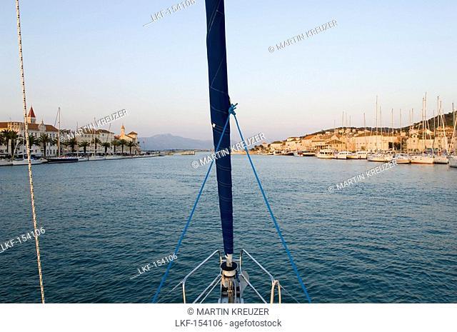 Sailing boat entering Trogir harbour, Sailing trip, Croatia