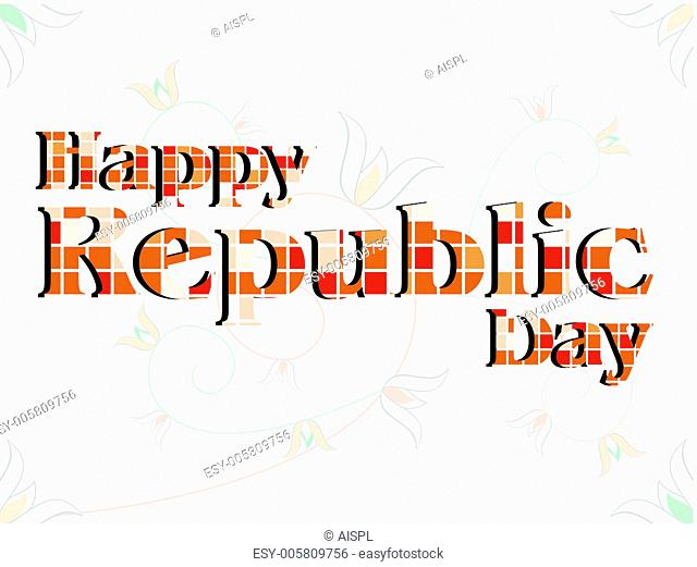 A vector illustration of a text Happy Republic Day made with blo