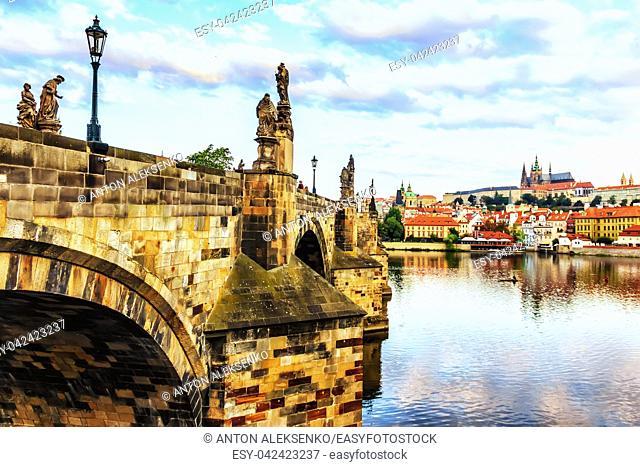 Charles bridges with beautiful statues in Prague, Czech Republic