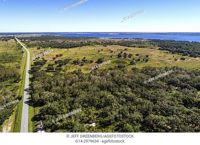 Florida, Kenansville, Lake Marian Highlands, Three Lakes Wildlife Management Area, State Road 523 highway, aerial overhead bird's eye view above