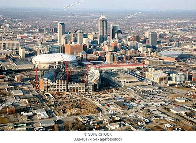 USA, Indiana, Indianapolis, Cityscape with Lucas Oil Stadium construction