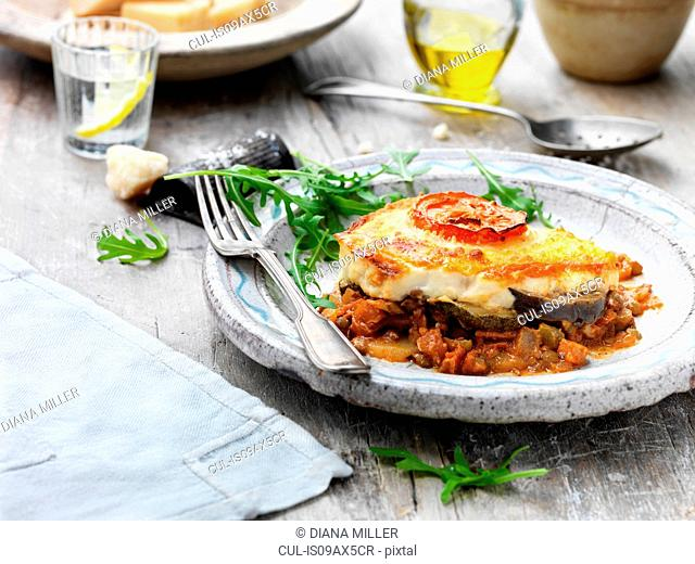 Vegetable moussaka on plate