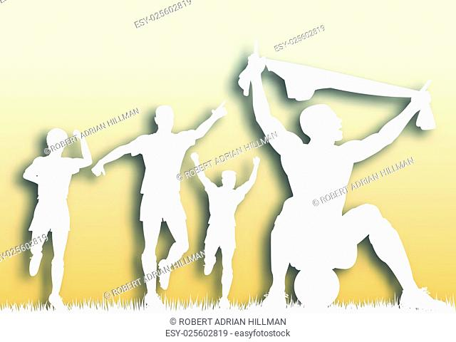 Editable vector cutout of a soccer player celebrating a goal plus team-mates with background made using a gradient mesh