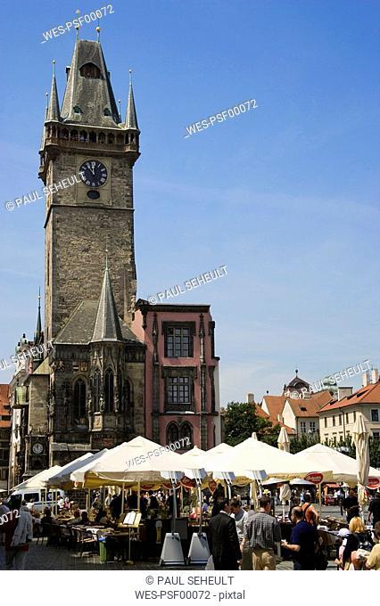 Czech Republic, Prague, Town Hall, sidewalk cafe in foreground