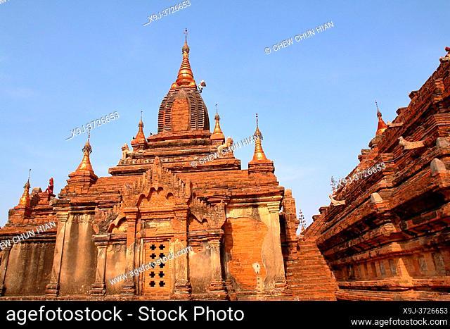 Bagan, temples, general aerial view of pagoda in Bagan, Myanmar, Burma