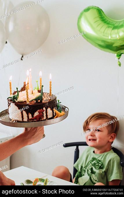 Young 5 years old boy blowing out his birthday candle
