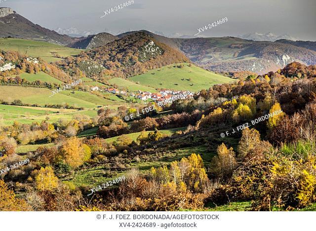 Garralda panoramic views in Autumn. Navarre, Spain