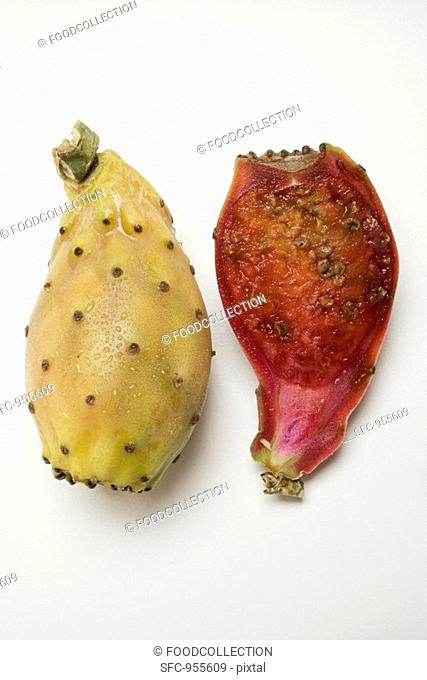 Whole and half prickly pear