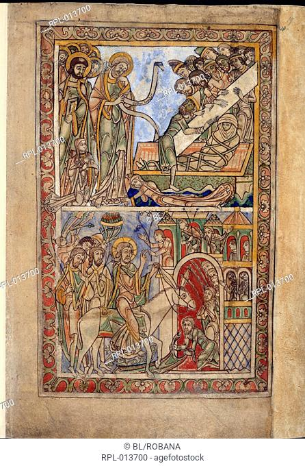 Lazarus, Entry into Jerusalem, Whole folio The Raising of Lazarus, below, the Entry into Jerusalem Image taken from Winchester Psalter Psalter of Henry of Blois