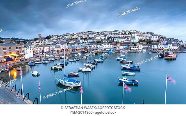 Boats moored in Brixham harbour, South Devon, England, United Kingdom, Europe