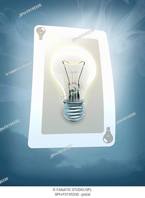 Illustration of lit bulb on trump card