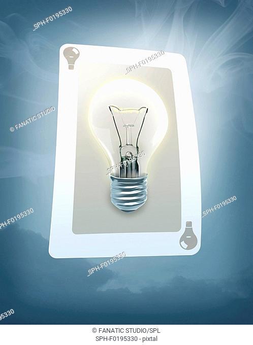 Illustration of lit bulb on trump card