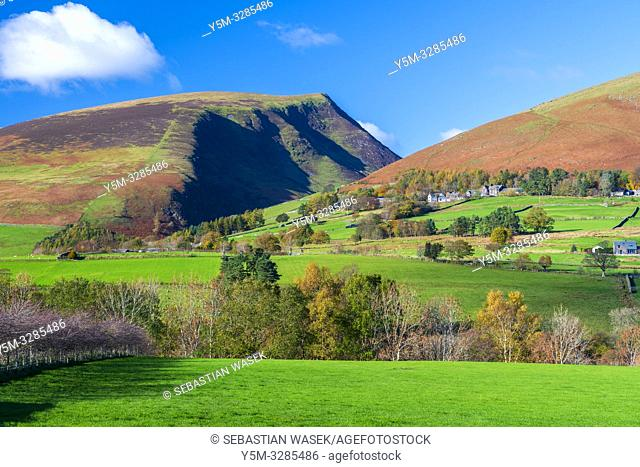 Cumbrian landscape near Castlerigg Stone Circle, Lake District National Park, Keswick, Cumbria, England, UK, Europe