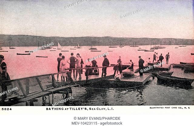 Bathing at Tilley's, Sea Cliff, Long Island, New York