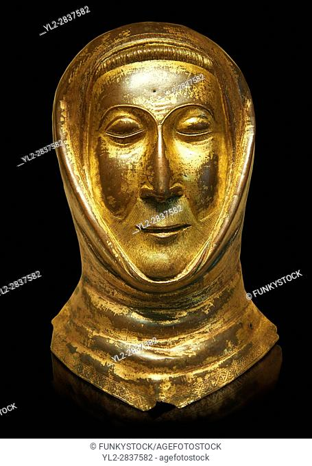 Medieval Gothic gold leaf funerary mask, end of 13th century made in Limoges. AD. From the Priory of Papillaye, Maine et Loire