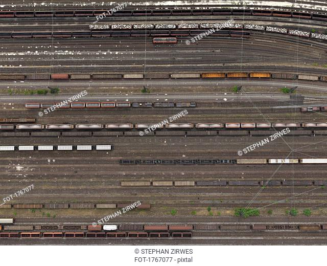 Aerial view trains at shunting yard near Cologne, North Rhine-Westphalia, Germany