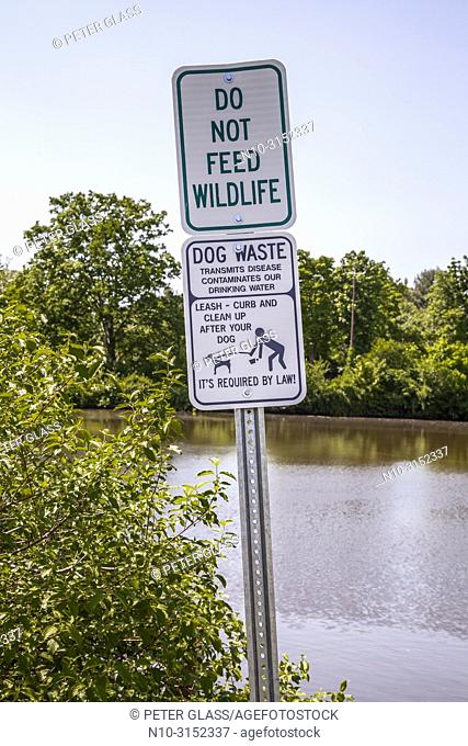 'Do Not Feed Wildlife' and 'Clean Up After Your Dog' signs by the water in a park