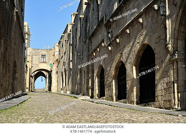 Rhodes  Dodecanese Islands  Greece  Avenue of the Knights Ippoton, Old Town, Rhodes City