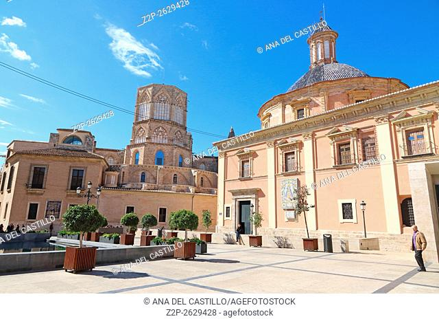 Square of Saint Mary's in Valencia in Spain. The cathedral and St Mary of Desamparados church