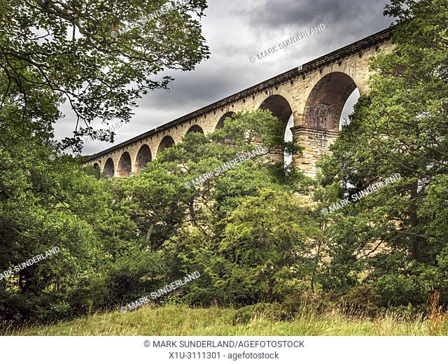 Arches of the Crimple Valley Viaduct designed by George Hudson near Pannal Harrogate North Yorkshire England