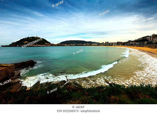 La Concha bay in autumn time at San Sebastian. Basque Country, Spain