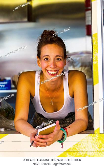 Waitress, The Supper Truck food truck, Albuquerque, New Mexico USA