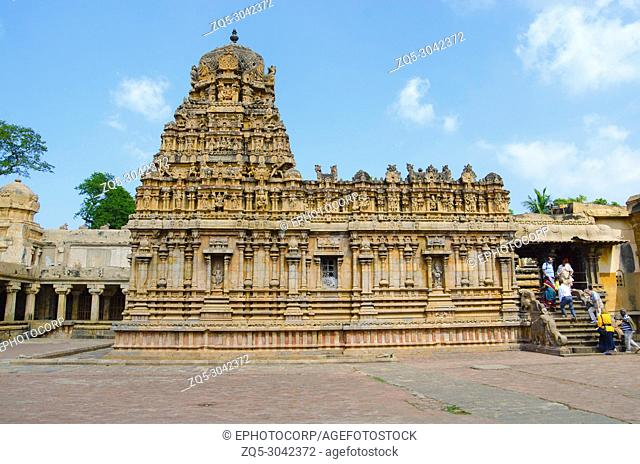 Brihadishvara Temple, Thanjavur, Tamil Nadu, India. Hindu temple dedicated to Lord Shiva, it is one of the largest South Indian temple and an exemplary example...
